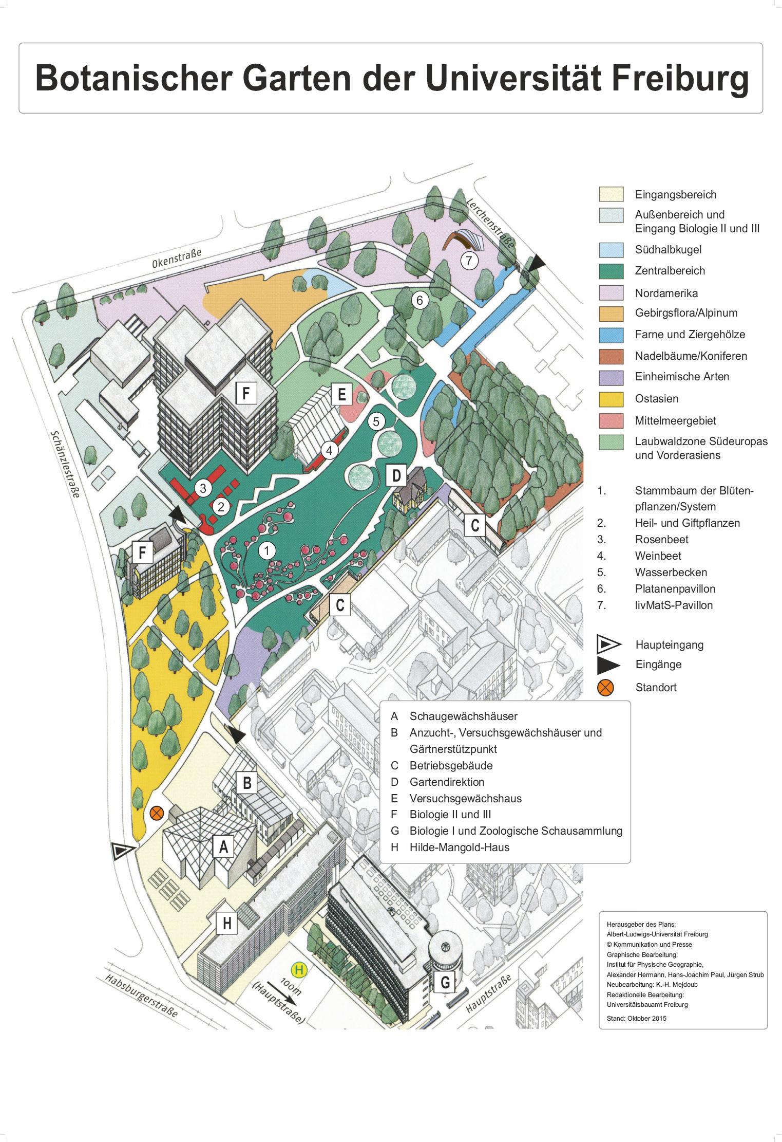 Lageplan des Botanischen Gartens Freiburg